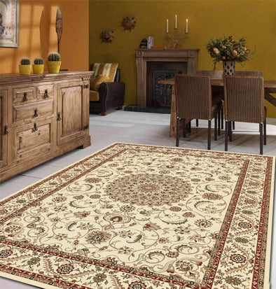 Medallion Rug Ivory with Ivory Border - Fantastic Rugs