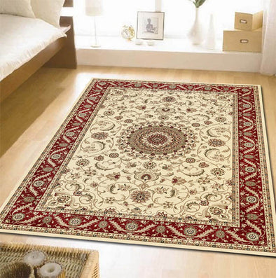 Medallion Rug Ivory with Red Border - Fantastic Rugs