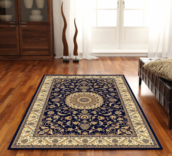 Medallion Rug Navy with Ivory Border - Fantastic Rugs