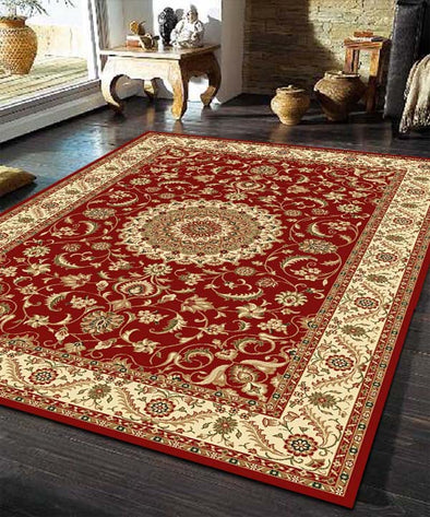 Medallion Rug Red with Ivory Border - Fantastic Rugs