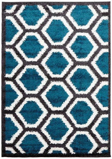 Hive Shag Rug Charcoal and Blue