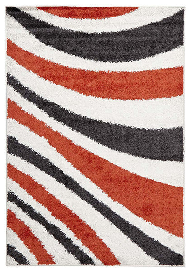Burst Shag Rug Tangerine and Charcoal - Fantastic Rugs