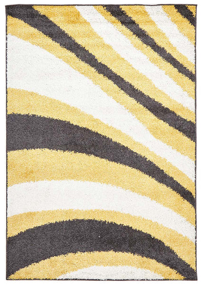 Burst Shag Rug Yellow and Charcoal - Fantastic Rugs