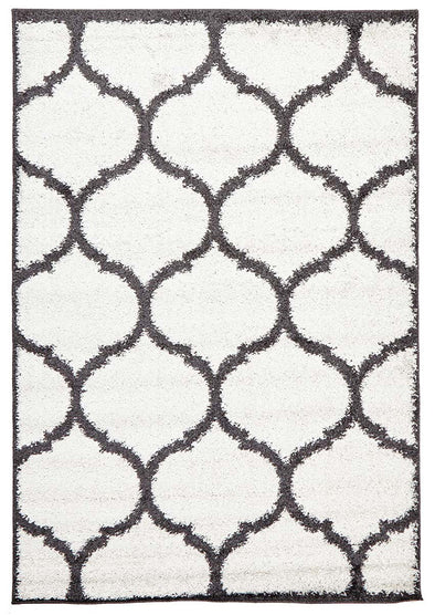 Shadow Shag Rug White and Charcoal - Fantastic Rugs