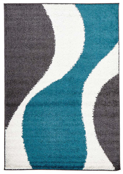 Enigma Shag Rug Blue Charcoal White
