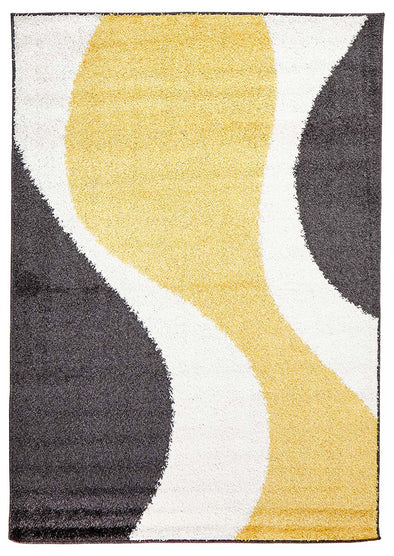 Enigma Shag Rug Yellow Charcoal White