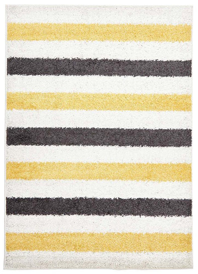 Stencil Shag Rug Yellow Charcoal White - Fantastic Rugs