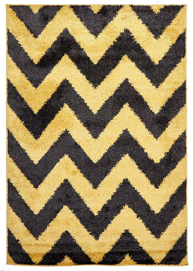 Ziggy Shag Rug Yellow Charcoal - Fantastic Rugs