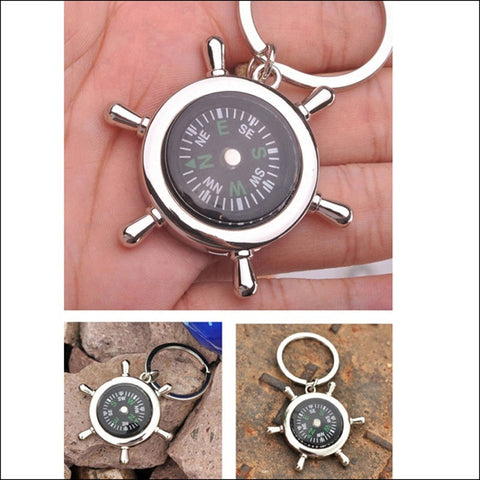 Survival Wheel Ruder Compass with Keychain