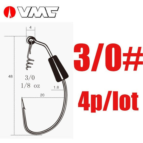 VMC Brand Heavy Duty Weighted Swimbait Fishhooks Soft Bait Grub Worm Fishing Hook High Carbon Steel Jig Hook 3/0# 4/0#