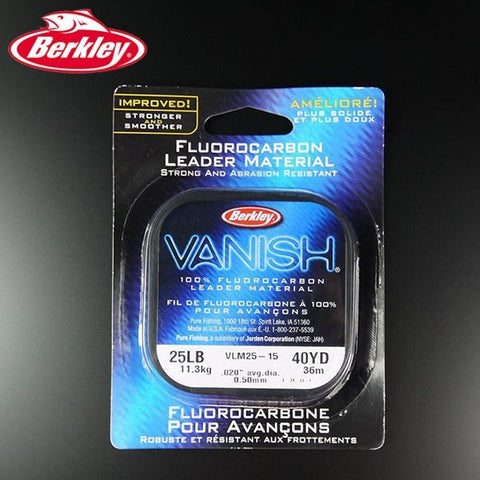 Berkley Brand Vanish 36M Transparent 100% Fluorocarbon Fishing Line Strong Abrasion Resistant Leader Line 15LB 20LB