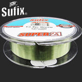 Hot!! Sufix Brand Super 21 Lo Vis Green Nylon Fishing Line Super Low Stretch Monofilament Fishing Wire 6-24LB Carp Fish Line
