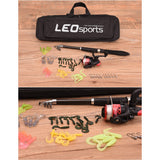 LEO 1.6M Telescopic Fishing Rod Set with Fish Reel Hook Lure Tackle Accessory Fishing Set with Bag