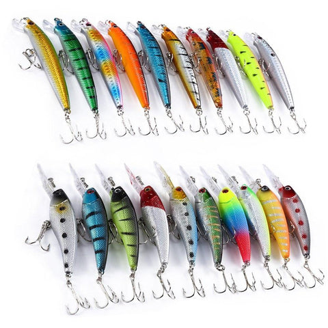 20 Pcs 2 Models Mixed Fishing Lure Minnow Crank Bait Fishing Gear Pesca Tackle