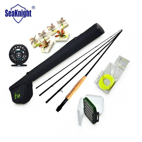 SeaKnight Fly Fishing SET Combo 5/6 # 4 segments 2.7M Fly Fishing Rod + Full Metal Reel + Rod Bag  + Fly Lures + Box + Lines