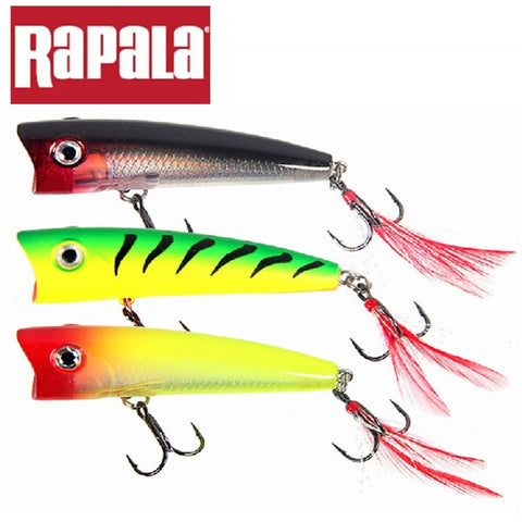 Rapala Brand X-Rap Pop XRP07 7CM 11g Topwater Hard Fishing Lure Floating Popper Bait with 3D eyes VMC Hooks and Feather