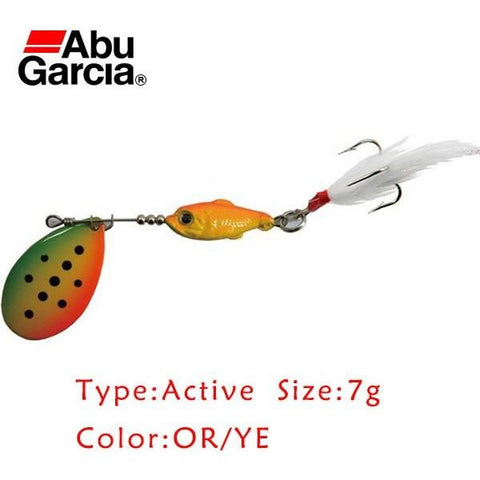 Abu Garcia Brand Active Style Spinner Bait 7g OR/YE Color  Spoon Lure for Salmon Perch Trout Fishing Bait