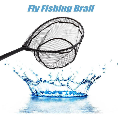 60CM Folding Fishing Net Landing Fishing Network Aluminum Alloy Frame Nylon Telescopic Hand Fish Net 41 * 30cm Landing Net