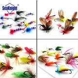 SeaKnight 48pcs Fly Fishing Lure Set 4 Style Insect Artificial Fishing Bait Feather Single Treble Hooks Carp Fish Lure
