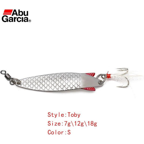 Abu Garcia Brand Toby Spoon Lure Silver Color Spoon Bait 7g 12g 18g  Fishing Lure for bass trout pike freshwater or saltwater