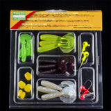 23pcs soft fishing lure set lead jig head hook grub worm soft fishing lures soft baits shads Plastic fish lure set Tackle Pesca