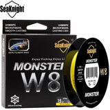 2017 SeaKnight MONSTER W8 300M 8 Strands Braided Fishing Line Super Thin 0.8# PE Multifilament Floating Fishing Line 15LB 6.8KG