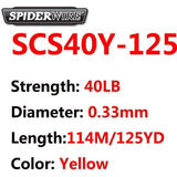 SpiderWire Brand Stealth Series Hi-Vis Yellow Color 8 Strand Braided Fishing Line 114M 125YD PE Microfiber Color-Lock technology