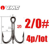 VMC Brand Spark Point X Strong Treble Fish Hooks 9626 PS Color anti-corrosion Short shank Fishhook 1# 2# 4# 1/0# 2/0# 4/0#