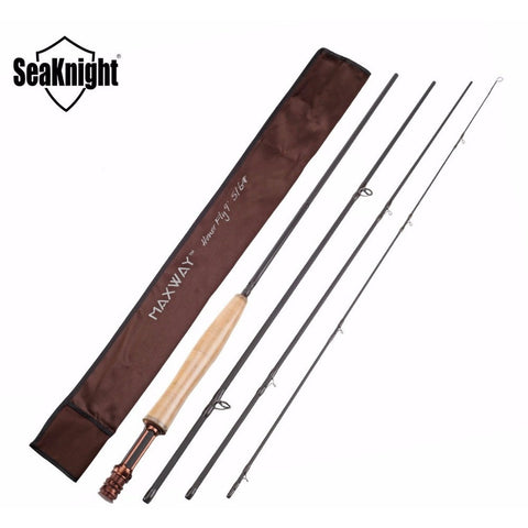 SeaKnight MAXWAY HONOR 5/6# 2.7M 4 Sections Fly Fishing Rod 97g/3.42oz Cork handle Super Light Carbon Fishing Rod