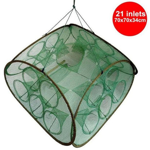 21 Inlets Syncronisation Cage Automatic Shrimp Cage Folding Fishing Net Cage Cast Fishing Net Tackle