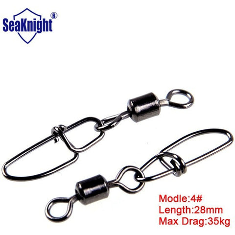 Seaknight Fishing Accessories Stainless Steel Rolling Swivel with Insurance Snap B-110 4# 6# max Drag 35kg Fishing Ring 200pcs