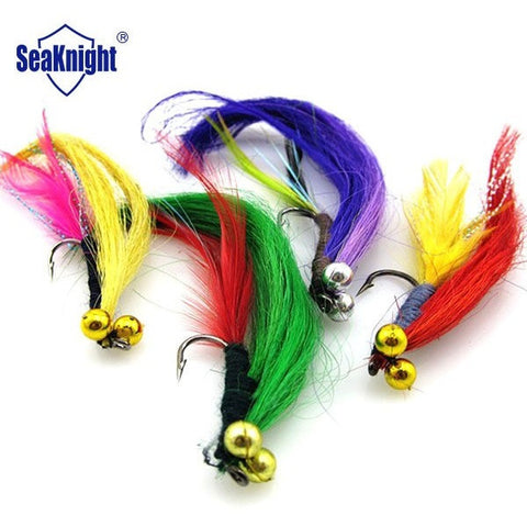 SeaKnight 20p Wool Dry Fly Fishing Bait Long Tail Artificial Fly Lure Set Insect Feather Fly Tying Fish Bait  Single Hook