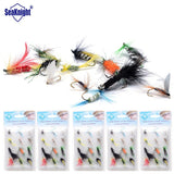 SeaKnight 60pcs Single Hook Dry Feather Fly Fishing Bait Artificial Insect Fishing Lure For Fishing Carp