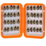 40pcs Fly Fishing Lure Kit Dry Fly Flies Baits Hooks Feather Wing for Trout Bass Fishing Artificial Bait with Box