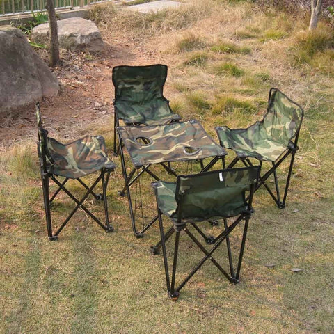 Portable Outdoor Camping Picnic Fishing Folding Foldable Table and Chair Set Camouflage Fishing Chair