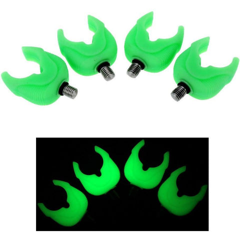 4pcs/Set Fishing Rod Rest Silica Rubber Fluorescent Fishing Pole Butt Rest Head Luminous Gripper Grips Fishing Tools