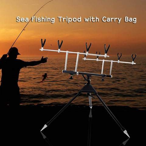 Adjustable Fish Pole Bracket Aluminum Alloy Telescopic Sea Fishing Tripod Holder Stand Bracket for 4 Fishing Rod with Carry Bag