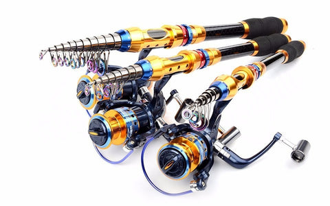 Telescopic Fishing Rod + Spinning Fishing Reel Tackle