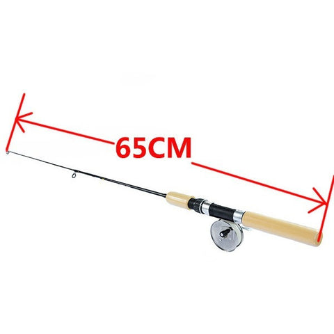 Tri-poseidon Brand 55/65/75CM Ice Fishing Rod with Metal Reel Telescopic Winter Fishing Stick Ultra light Ice Fishing Tackle