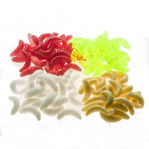 100PCS 2cm 0.4g Maggot Grub Soft Lure Baits Worms Glow