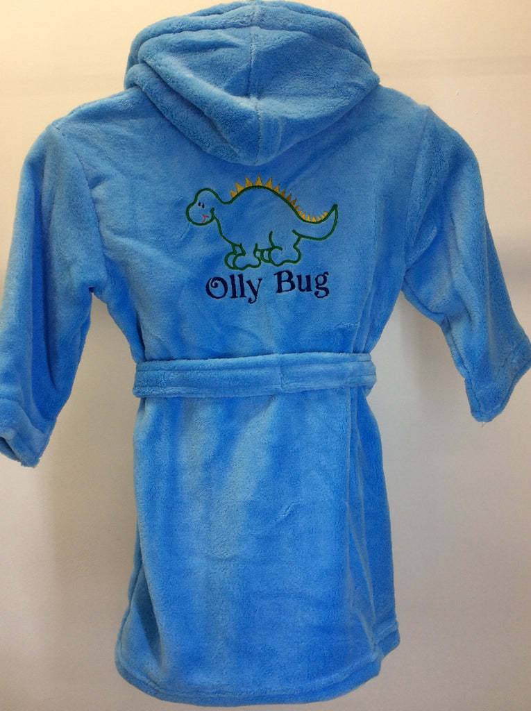Dinosaur Dressing Gown personalised with any name green and gold ...