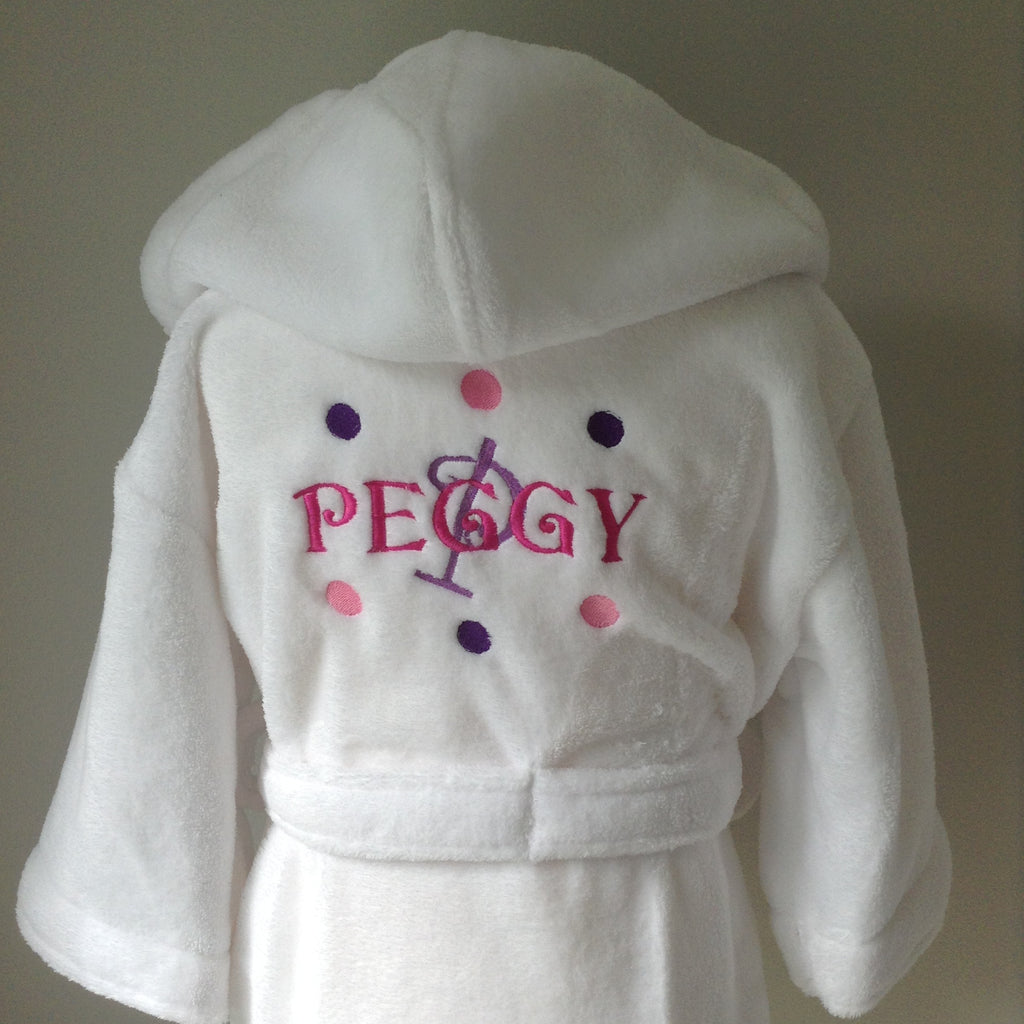 Girls personalised dressing gown Pink & Purple dots design – Cozy ...
