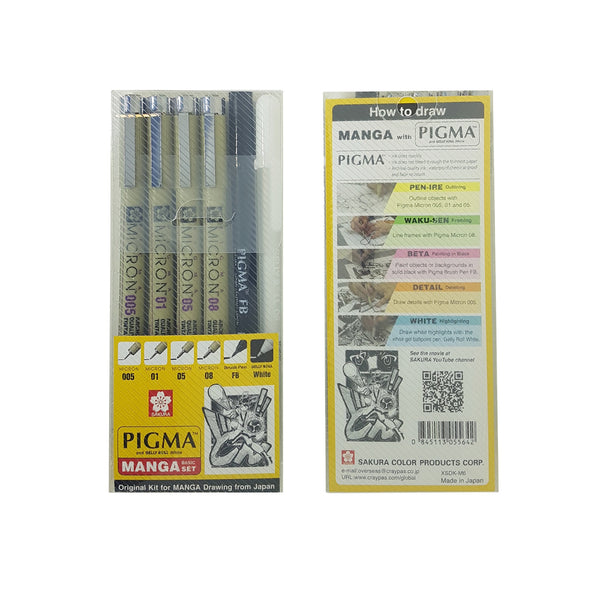 Sakura Pigma Micron | Manga Basic Set | Pack of 6 Pens