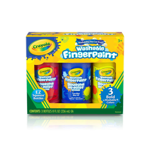 Crayola Washable Fingerpaint | 3 Bottle Primary Colours