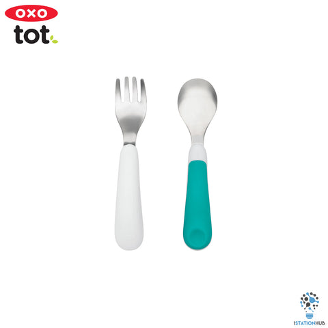 Oxo Tot Fork & Spoon Set | Teal