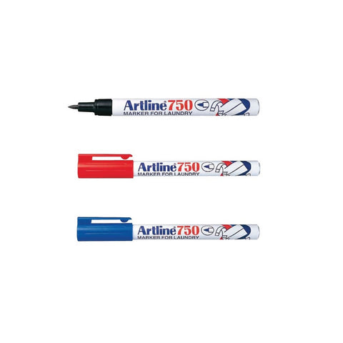 Artline 750 Laundry Permanent Marker | Black Red Blue