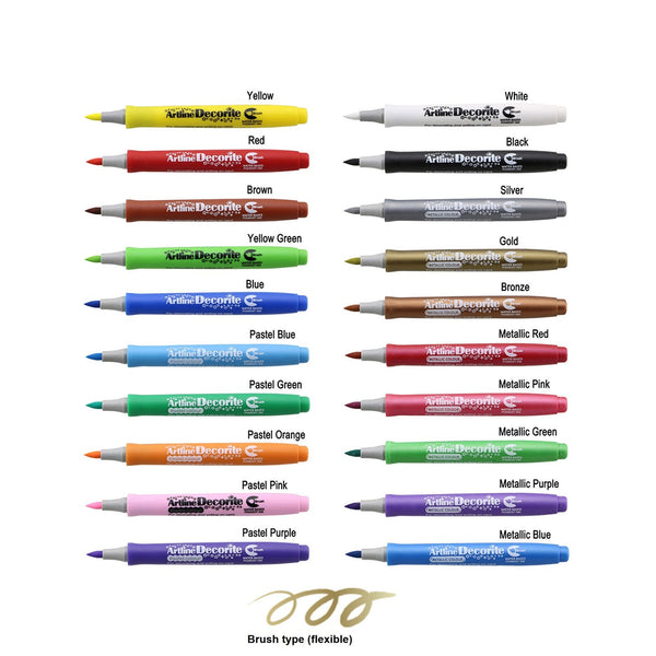 Artline Decorite Marker | Brush Style - Pack of 20 Pens