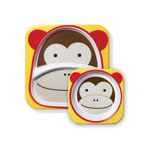 Skip Hop Zoo Melamine Set | Plate & Bowl - Monkey