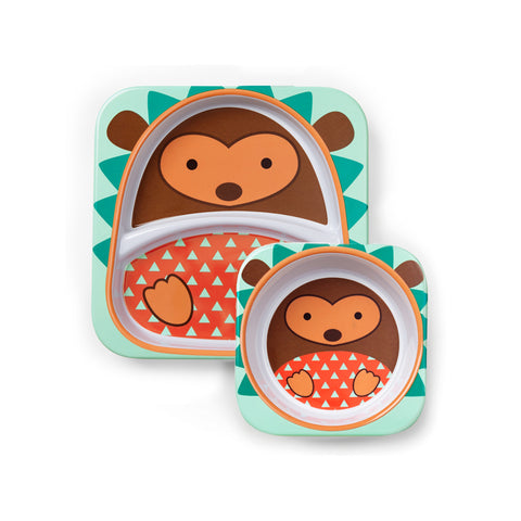 Skip Hop Zoo Melamine Set | Plate & Bowl - Hedgehog