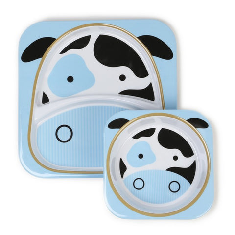 Skip Hop Zoo Melamine Set | Plate & Bowl - Cow